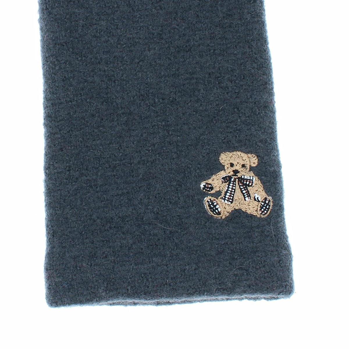 【SALE】DAKS レッキスファー指先 ウールジャージ 婦人手袋 テディベア刺繍 女性用21〜22cm(M)