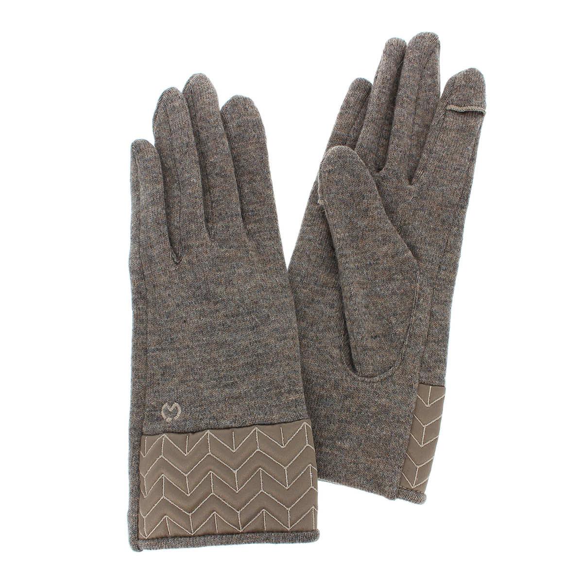 ミラショーン レディース ジャージ手袋 サテンカフス 幾何学模様キルティング 秋冬 五本指手袋 エレガント フェミニン 大人女性に人気