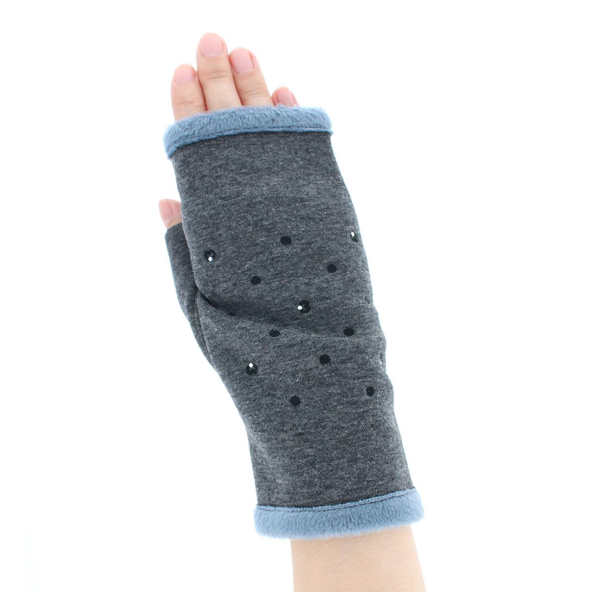 ミラショーン レディース ジャージ手袋 指なし手袋 秋冬 あったか 裏起毛素材 ラインストーン スマホ タッチパネル対応 フェミニン キレイ おしゃれ