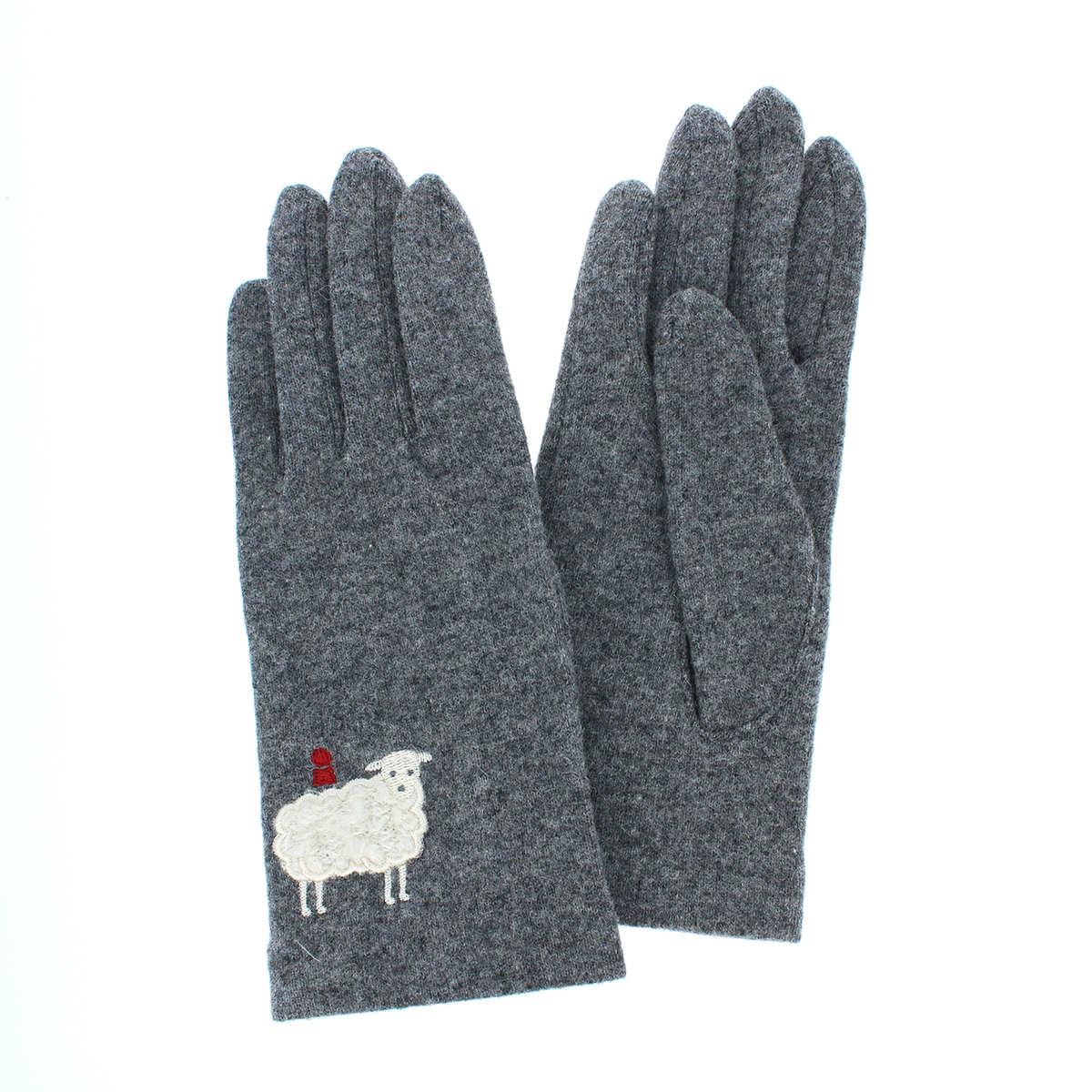 ピッコーネ 人気ブランド レディース ジャージ手袋 キレイカラー 秋冬 五本指手袋 防寒 可愛い 大人カジュアル モコモコ羊柄