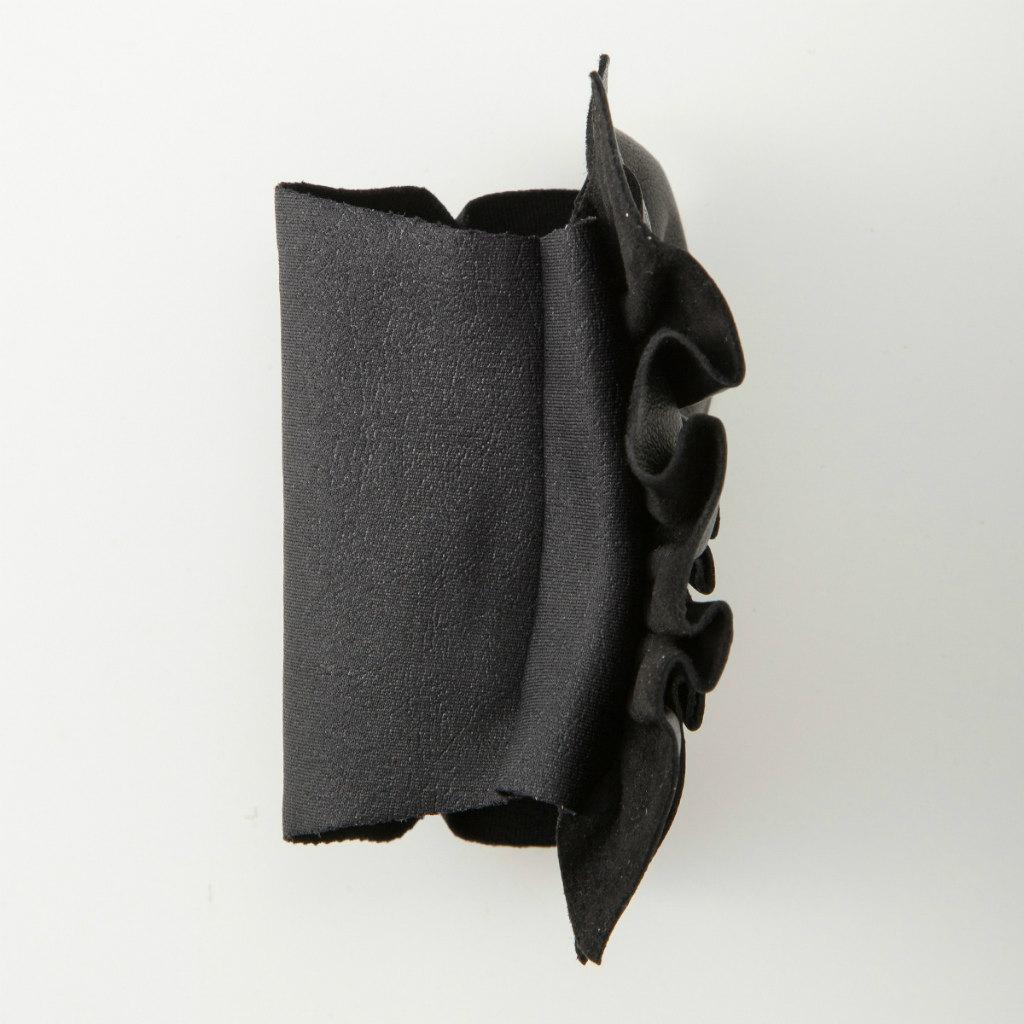 BIYUTE 都会派 レディース ハンドアクセサリー 手袋 重ね着け パームカフ 片手分 レザー フリル ブラック