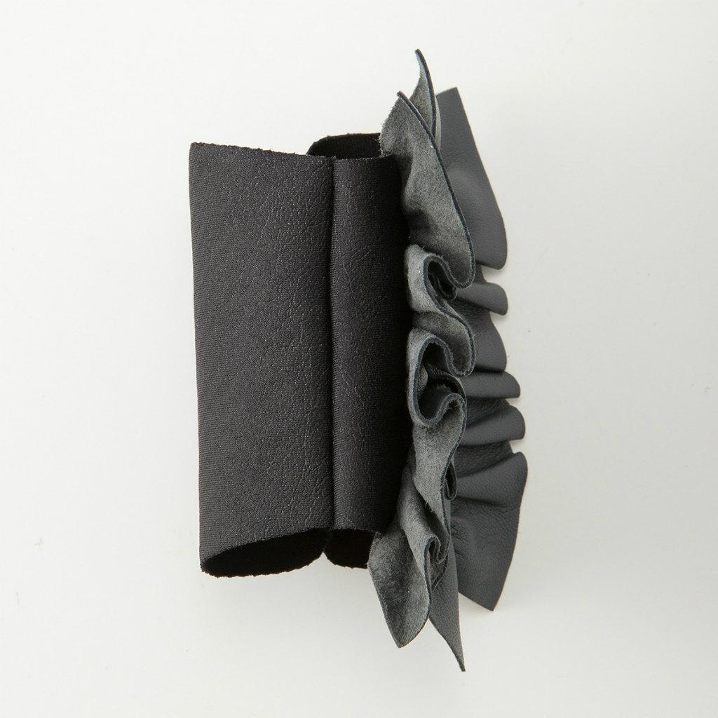 BIYUTE 都会派 レディース ハンドアクセサリー 手袋 重ね着け パームカフ レザー フリル グレー