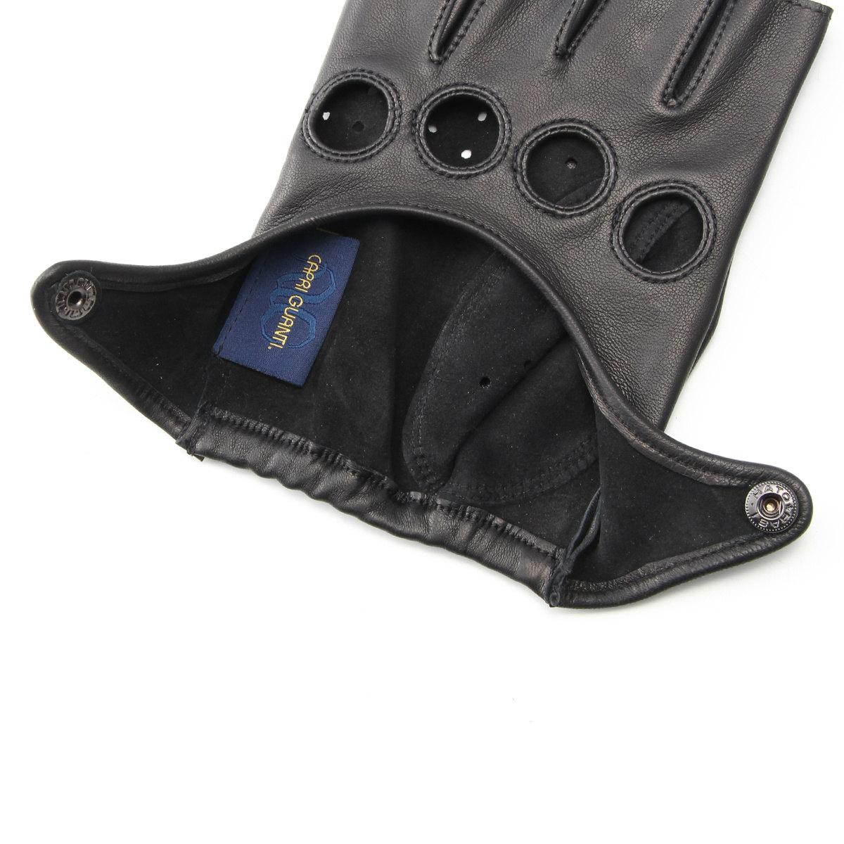 半指 本革 ドライビンググローブ メンズ レディース アルタクラッセ カプリガンティ 8サイズ ブラック 保存袋付 専用箱入