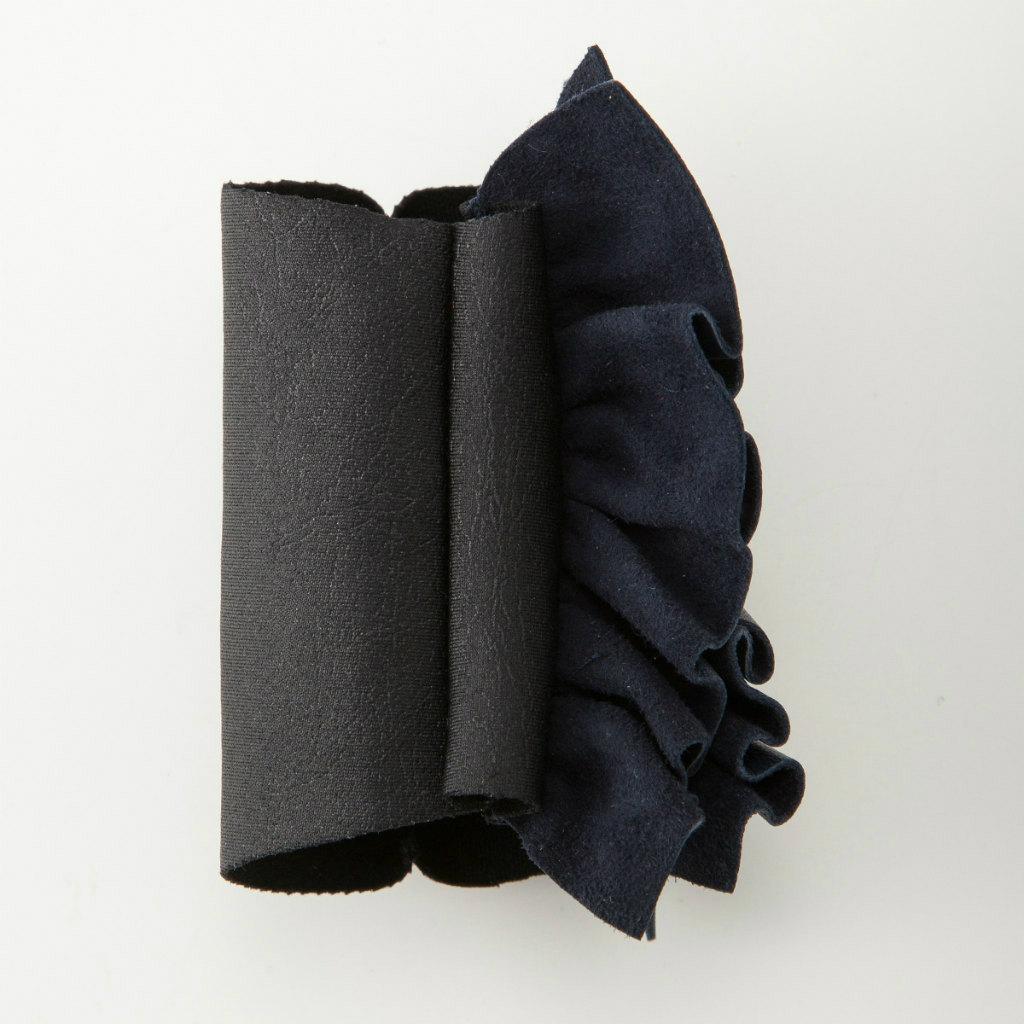 BIYUTE 都会派 レディース ハンドアクセサリー 手袋 重ね着け パームカフ レザー フリル ネイビー