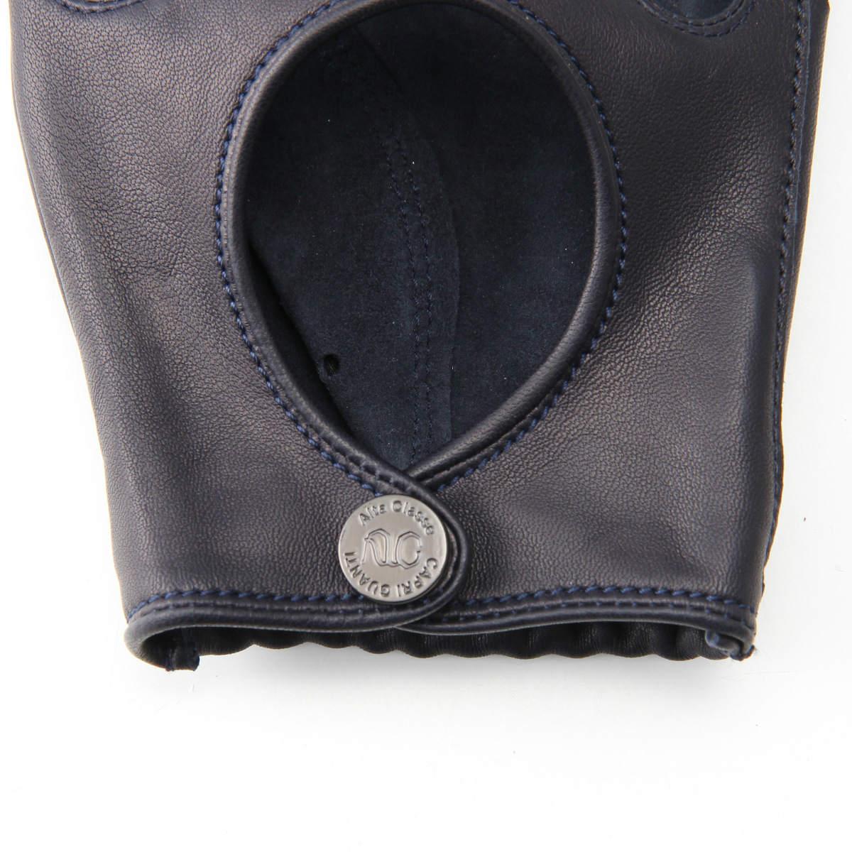 半指 本革 ドライビンググローブ メンズ 羊革 プロ仕様 アルタクラッセ カプリガンティ ネイビー 保存袋付き 専用箱入り