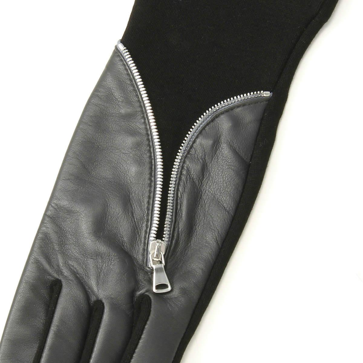 BIYUTE レディース ジャージ手袋 ちょっと長め丈 甲側レザー ジッパーがクール ストレッチ素材 Mサイズ 全2色
