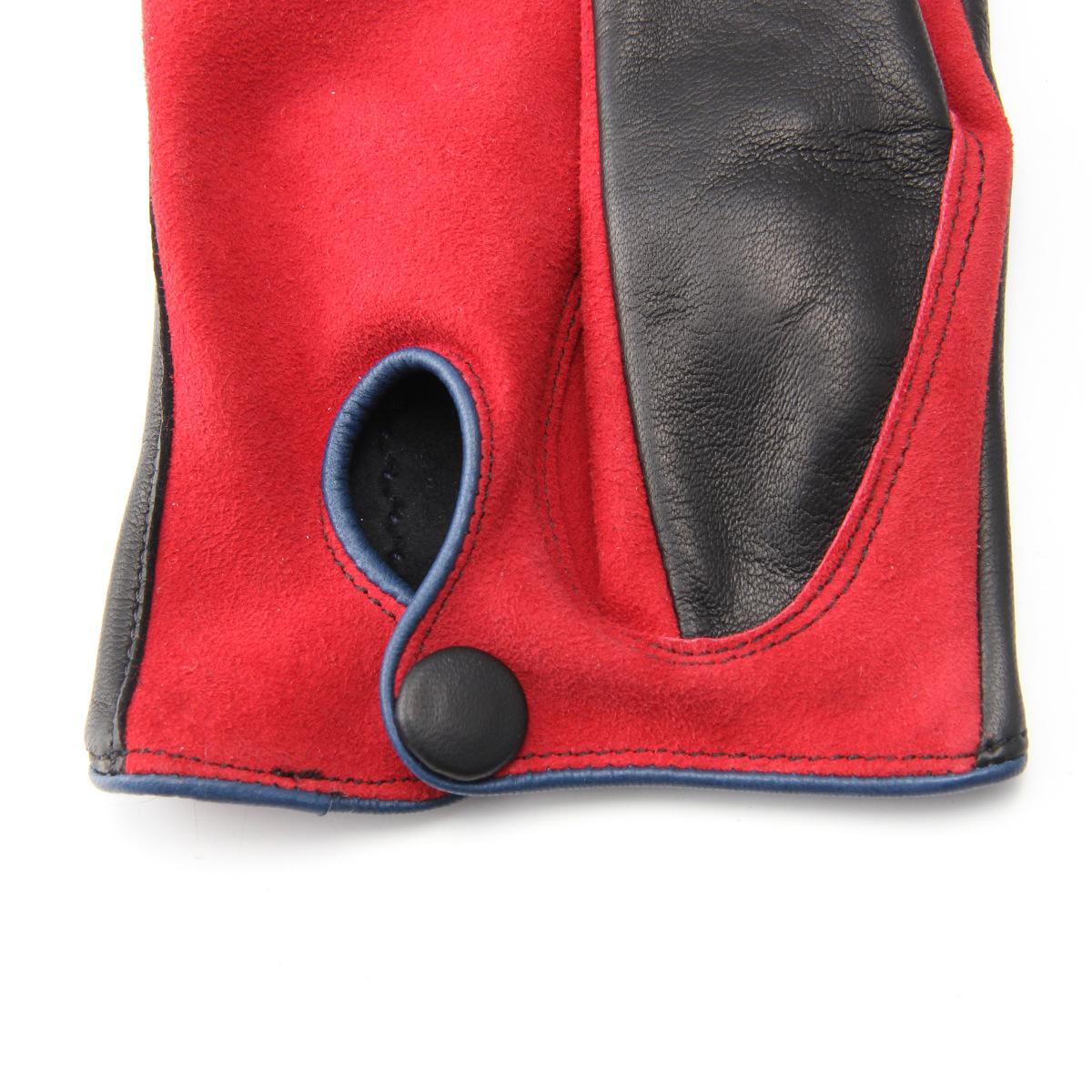 半指 本革 ドライビンググローブ メンズ 羊革 スエード アルタクラッセ カプリガンティ ブラック×レッド 保存袋付 箱入