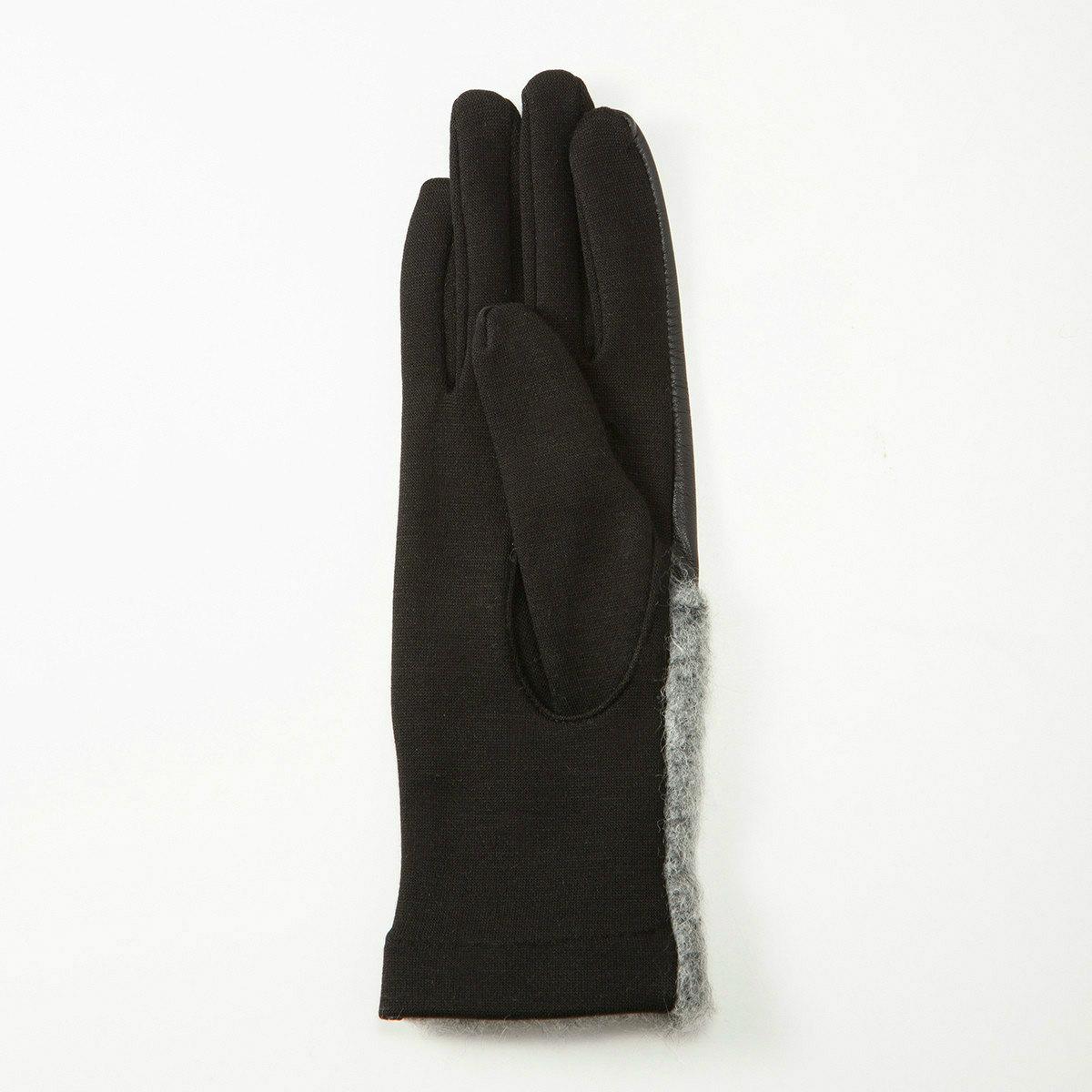 BIYUTE レディース ジャージ手袋 甲側レザーとモコモコの異素材コンビ ストレッチ素材 Mサイズ 全2色