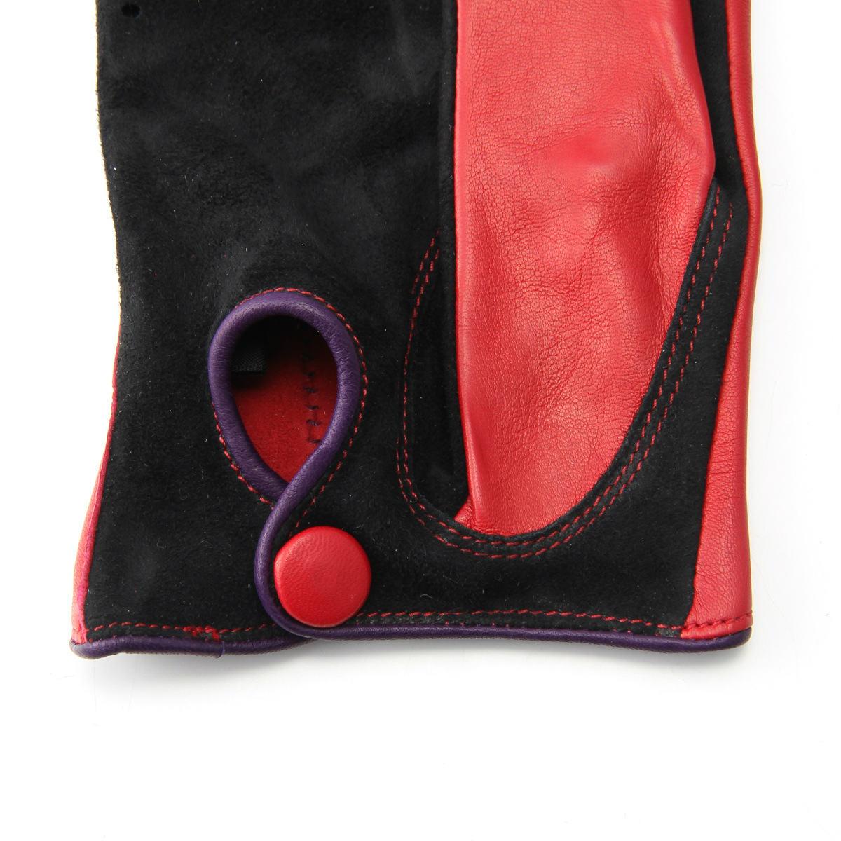 半指 本革 ドライビンググローブ メンズ 羊革 スエード アルタクラッセ カプリガンティ レッド×ブラック 保存袋付 箱入