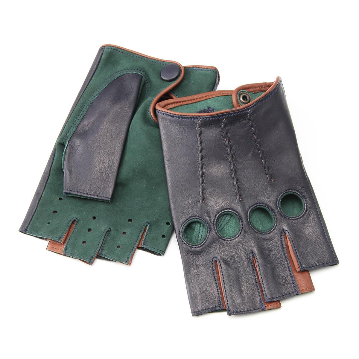 半指 本革 ドライビンググローブ メンズ 羊革 スエード アルタクラッセ カプリガンティ ネイビー×グリーン 保存袋付 箱入