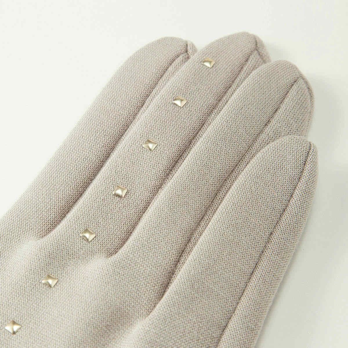 BIYUTE レディース ジャージ手袋 シンプル ちょっと長め丈 ストレッチ素材 ストーンがおしゃれ Mサイズ 全2色