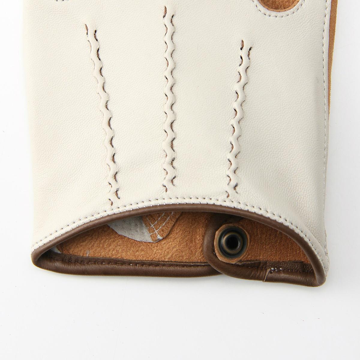 半指 本革 ドライビンググローブ メンズ 羊革 スエード アルタクラッセ カプリガンティ アイボリー 保存袋付 ギフト箱入