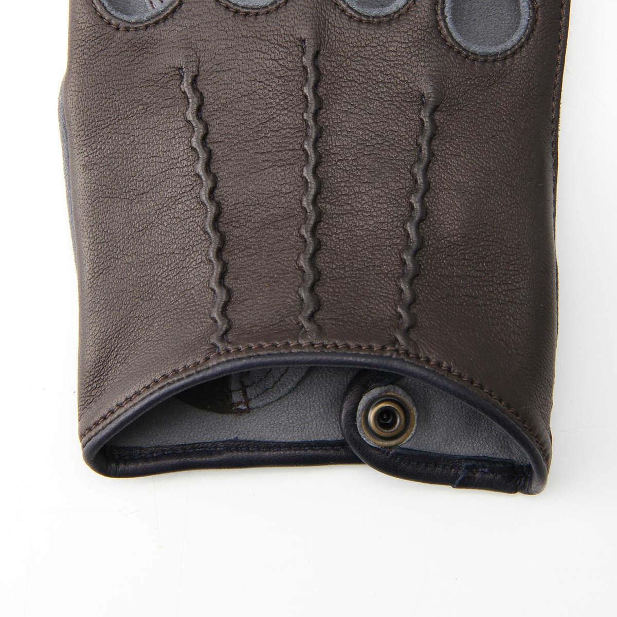 半指 本革 ドライビンググローブ メンズ 羊革 スエード アルタクラッセ カプリガンティ Dブラウン×グレー 保存袋付 箱入