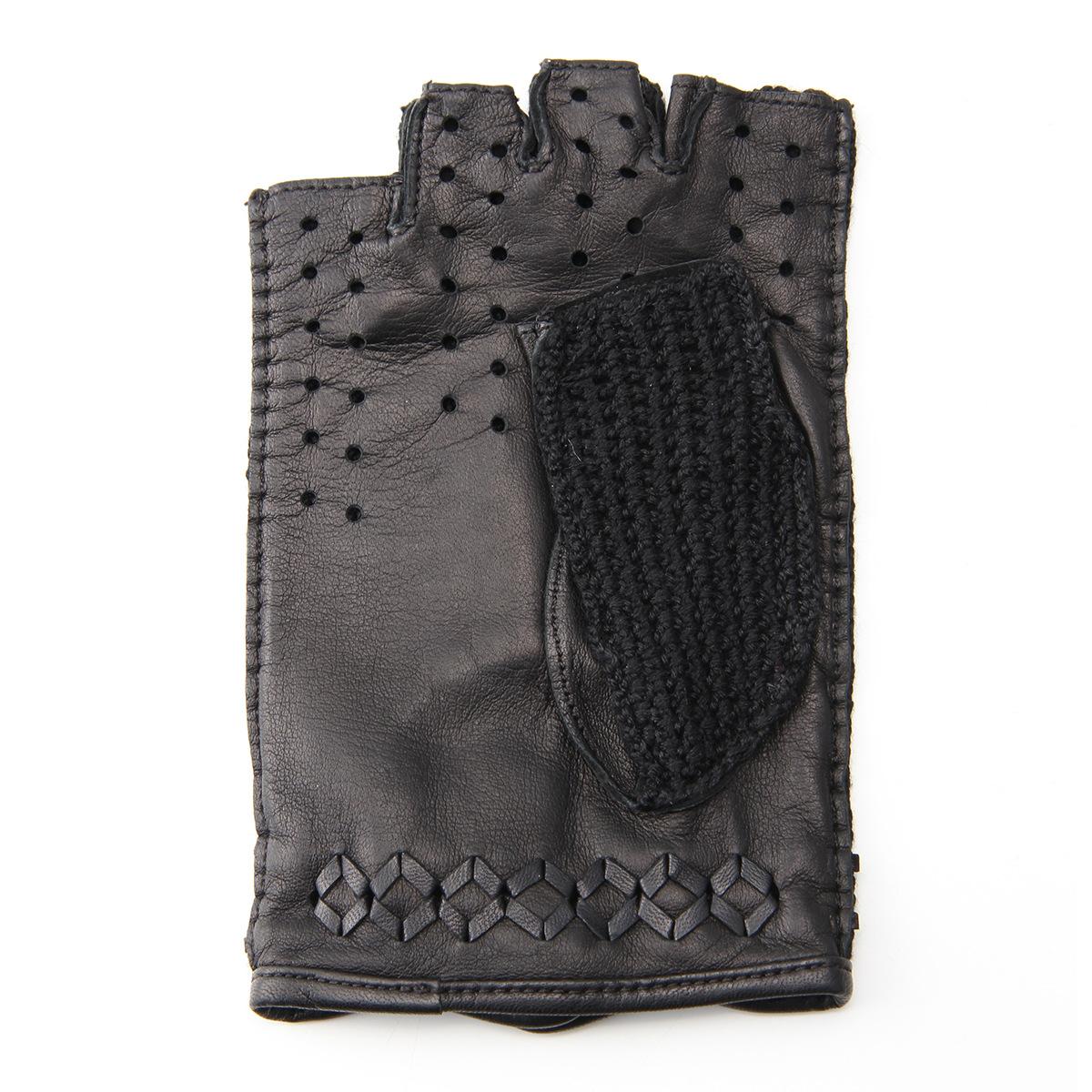 半指 メッシュ ドライビンググローブ メンズ 羊革 シルク 鉤針編 アルタクラッセ カプリガンティ ブラック 保存袋付