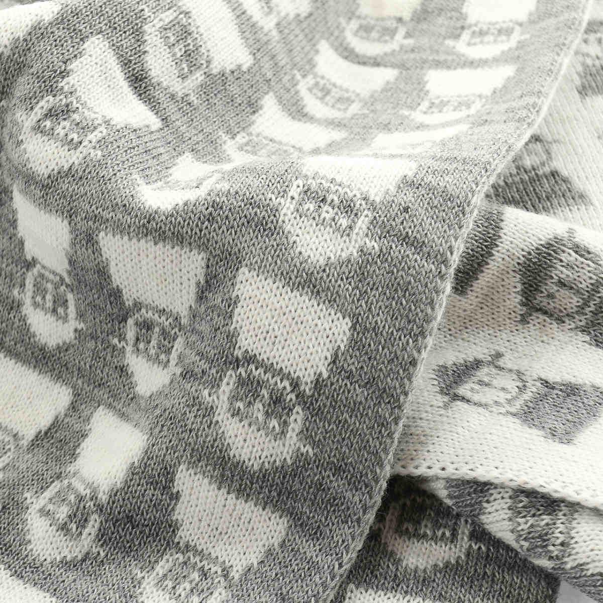 ピッコーネ 人気ブランド ニットマフラー レディース PICONE 連続司祭柄 秋冬 防寒 リバーシブル モノトーン 柄もの 日本製 幅25×長さ180