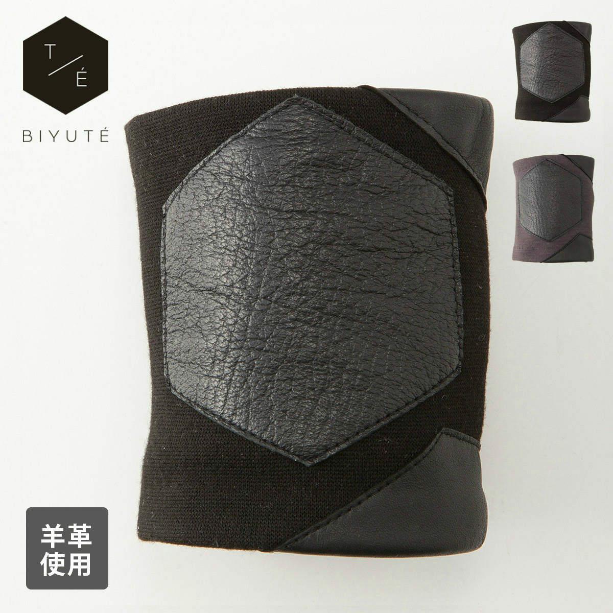 BIYUTE パームカフ ハンドアクセサリー ビユテ手袋に重ねつけ ヘキサゴン型レザーデザイン コーディネイト用 全2色