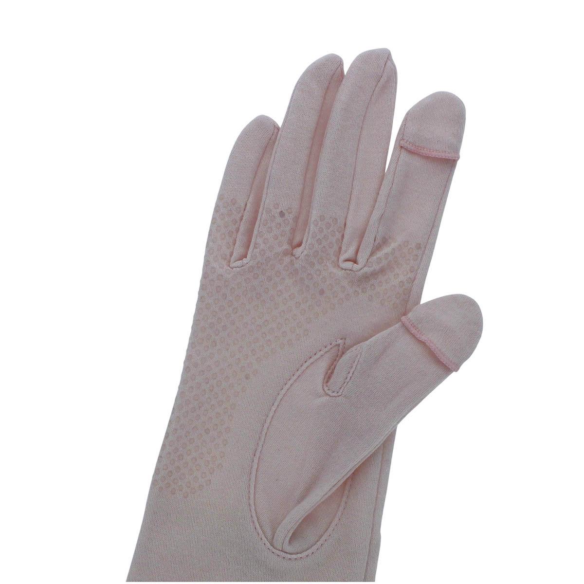 ローラアシュレイ レディース UV手袋 UVカット 紫外線対策 綿100% ショート丈 25cm 五本指 スマホ タッチパネル対応 指が出せる 滑りどめ付 プレゼント