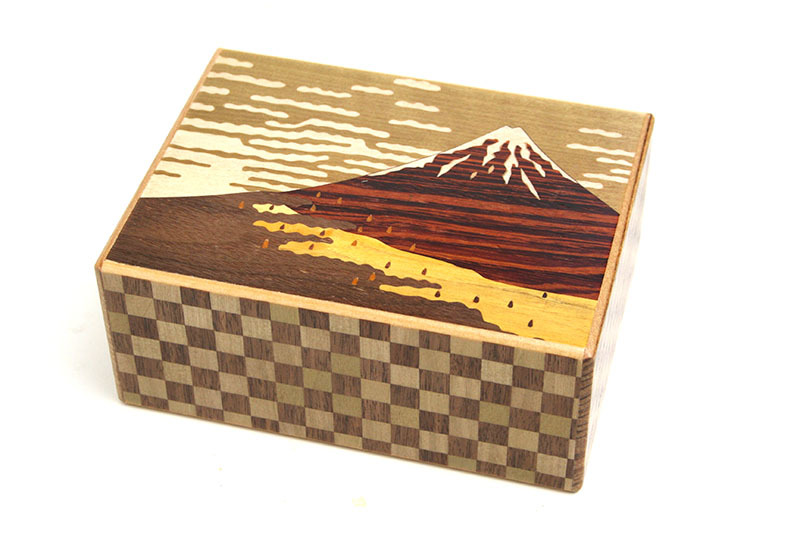 秘密箱5.5寸21+1回仕掛け 赤富士と玉紫陽花
