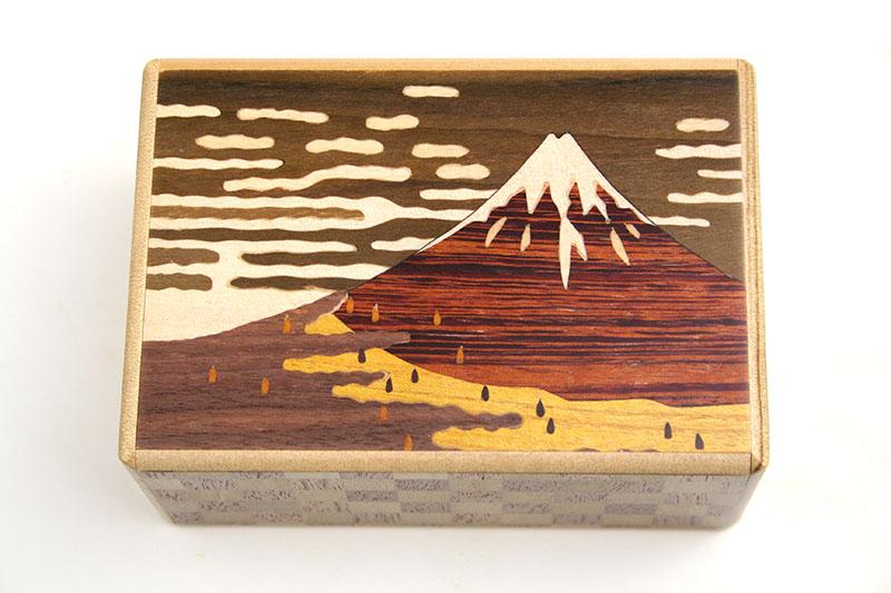 秘密箱7回仕掛け 赤富士と鶯