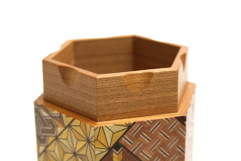 寄木六角茶筒