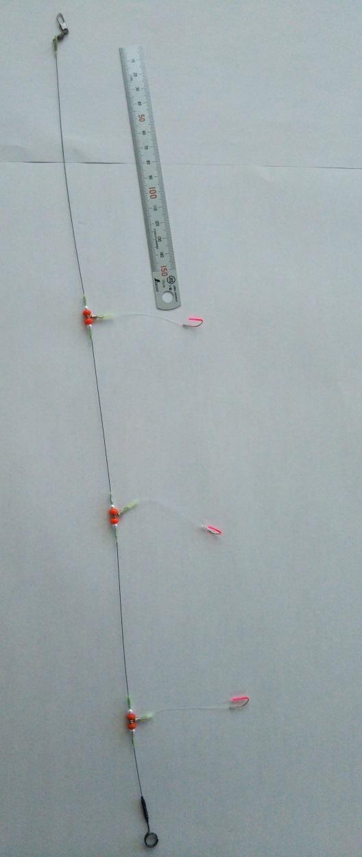 廃番処分につき値下げ!夢のカワハギ仕掛 3本赤 針つき KGS-M3R