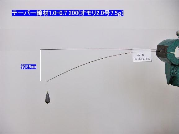 【お得な!パッケージレス】形状記憶合金・テーパー線材 φ1.0-0.7×200mm