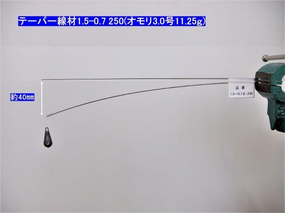 【お得な!パッケージレス】形状記憶合金・テーパー線材 φ1.5-0.7×250mm