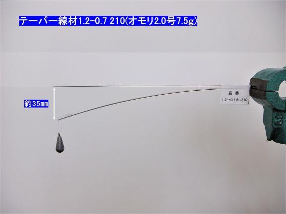形状記憶合金・テーパー線材 φ1.2-0.7×210mm