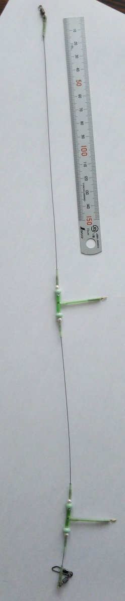 廃番処分につき値下げ!枝ストンボ付カワハギリーダー 2本針緑ビーズ