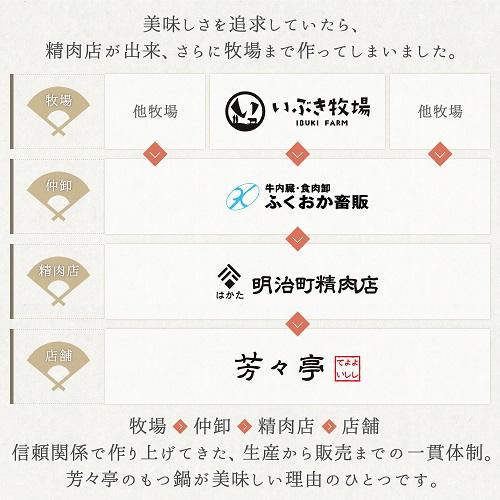 【送料無料】博多芳々亭 国産牛肉肉もつ鍋セット(4人前)/nmn4