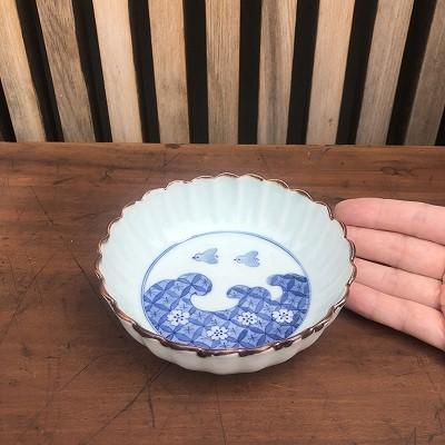 波千鳥輪花鉢
