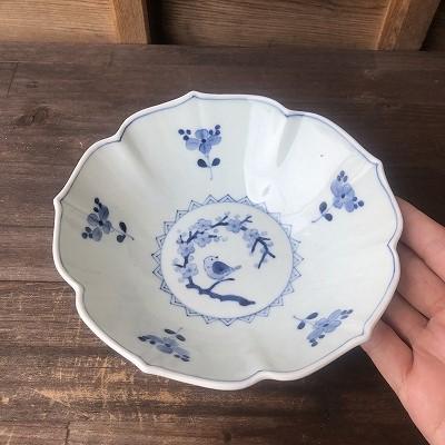 桔梗型花鳥文鉢