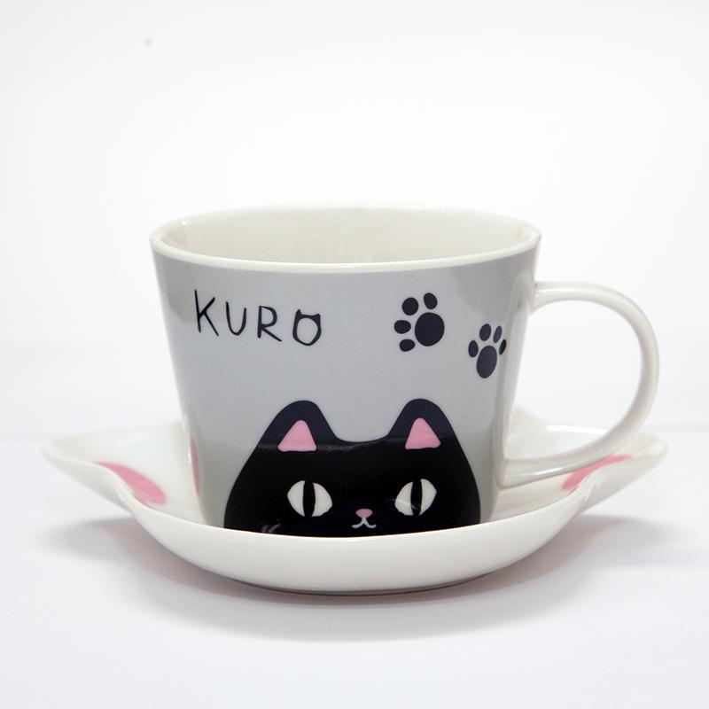 猫柄食器|猫3兄弟 肉球碗皿(kuro)