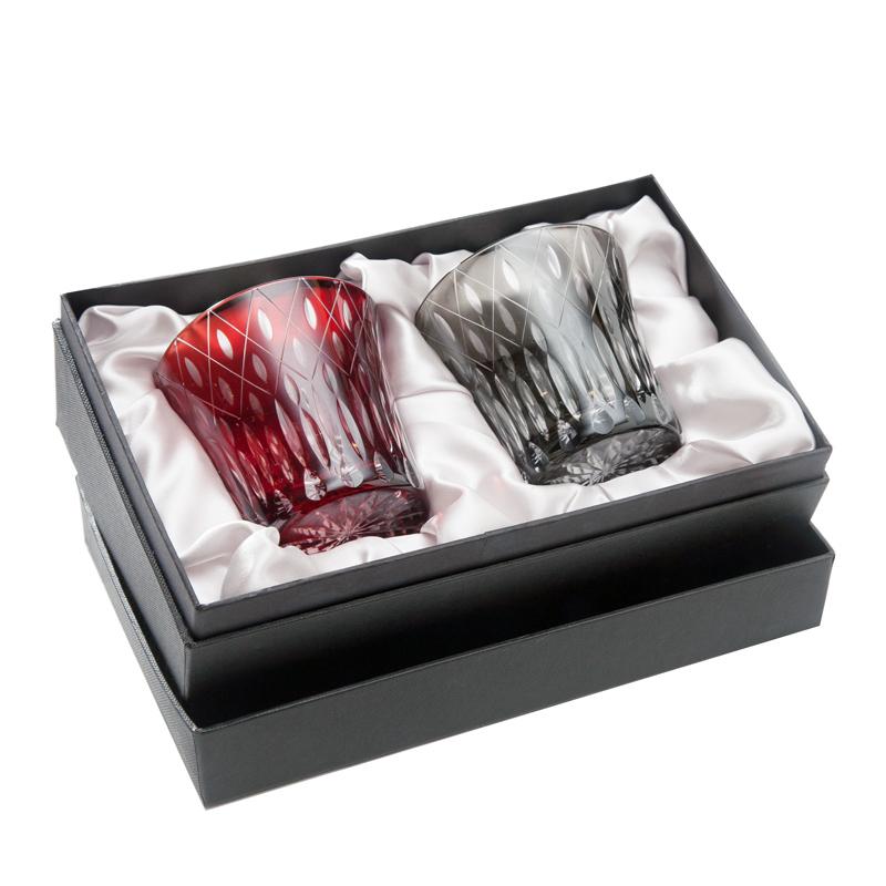 【結婚祝いグラス】ロックグラスペア・切子ガラスダイヤモンド【レッド&ブラック】