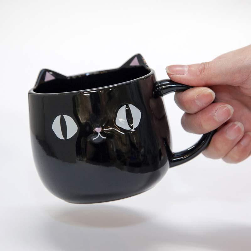猫柄食器|猫3兄弟 顔マグカップ kuro