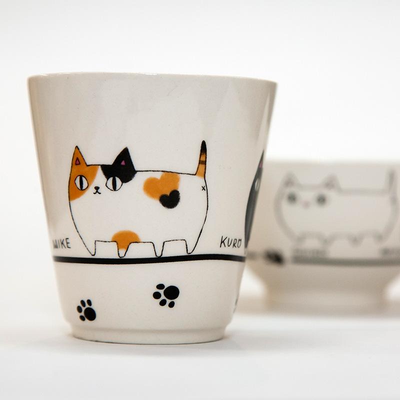 猫柄食器|猫3兄弟飯椀湯呑セット