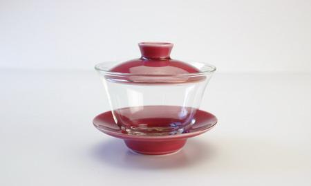 蓋碗 ガラス 金縁品紅 がいわんがらすきんぶちひんこう