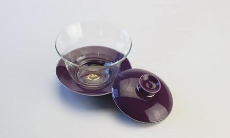 蓋碗 ガラス 銀縁貴紫 がいわんがらすぎんぶちきし