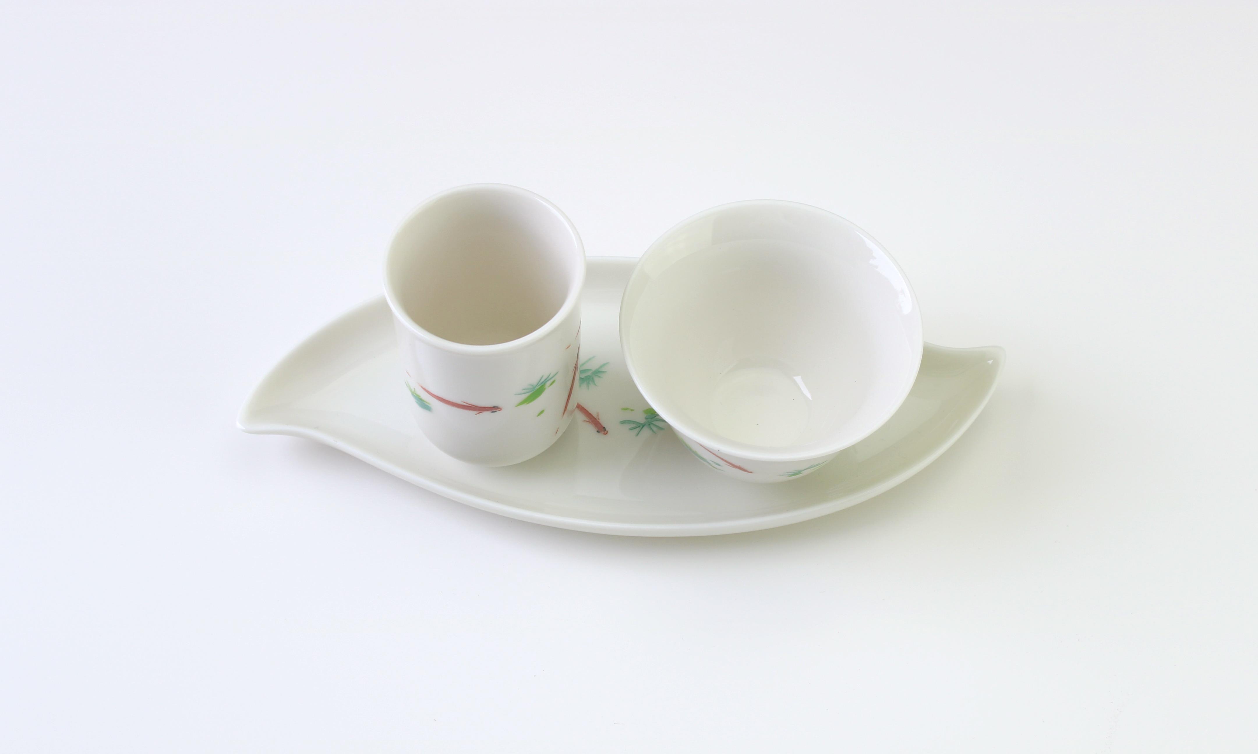 茶托 双杯托 白牙浮魚 そうたくはいがはくうきうお Double cup holder