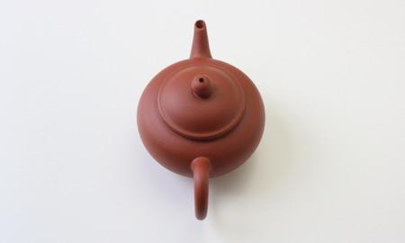茶壷 宜興紫砂水平壷 紅泥  110�