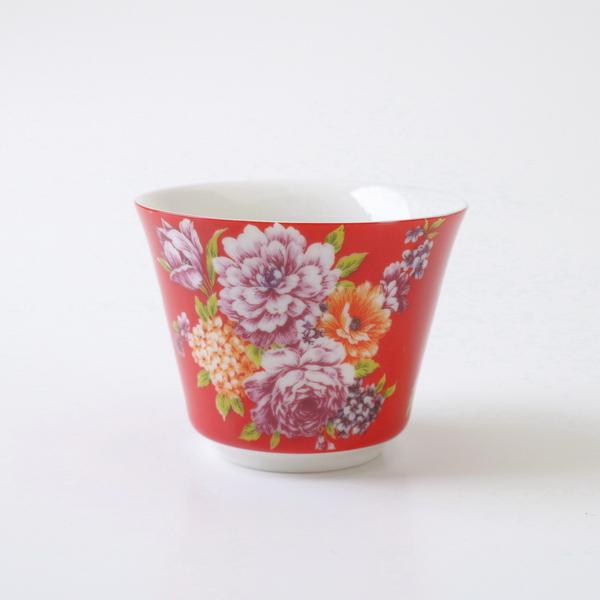 【オンラインショップ限定】飲杯 台湾花布 赤 55cc  たいわんはなふ 台湾茶器 茶杯