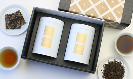 """""""機能×熟成""""大人のための白茶と黒茶 缶入2種セット(白牡丹2016 箔片+特級プーアール茶)"""