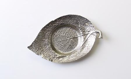 金属茶托 銀白 楓葉