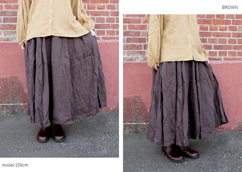 【a+koloni(コロニー)*ベルギーリネンギャザースカート(4色)】