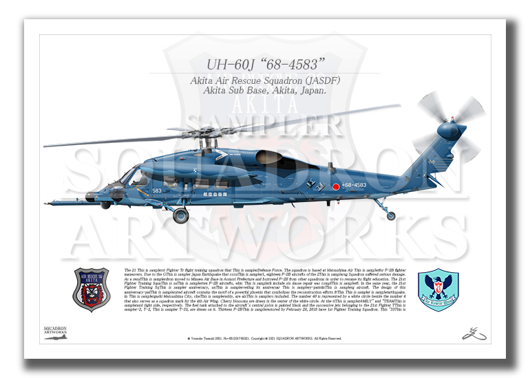 """UH-60J """"68-4583"""" プローブ装着 秋田救難隊 (A4サイズ Prints)"""