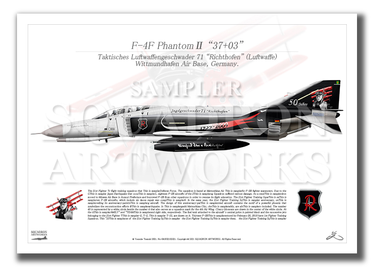 "F-4F Phantom� JG71 ""Richthofen"" 50th Anniv  (A4サイズ Prints)"