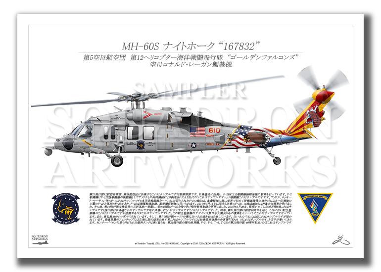 """MH-60S ナイトホーク HSC-12 ゴールデンファルコンズ Showbird """"167832""""  (A3サイズ Profiles)"""