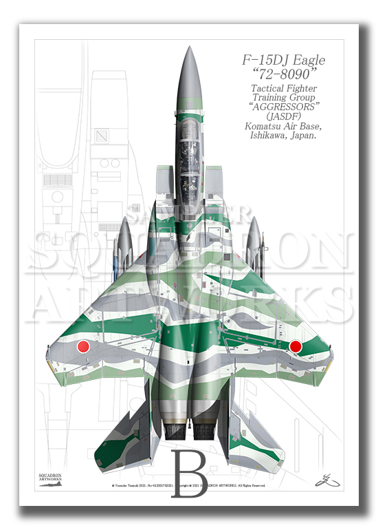 """Top view 縦向き"" F-15DJ イーグル 飛行教導群 ""72-8090"" メロン (A4サイズ Prnts)"