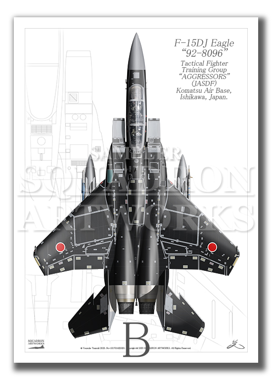 """Top view 縦向き"" F-15DJ イーグル 飛行教導群 ""92-8096"" (A3サイズ Prnts)"