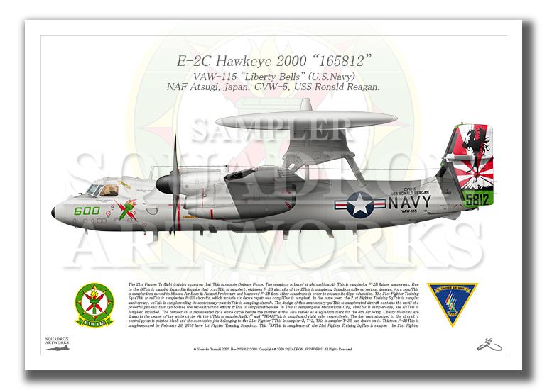 """E-2C ホークアイ 2000 VAW-115 """"リバティーベルズ"""" 2017 Showbird """"165812"""" (A4サイズ)"""